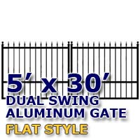 5' x 30' Residential Dual Aluminum Flat Style Driveway Gate