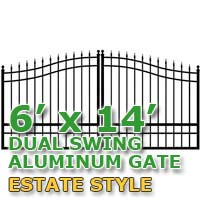 6' x 14' Residential Dual Aluminum Estate Style Driveway Gate