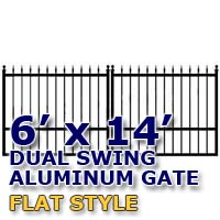 6' x 14' Residential Dual Aluminum Flat Style Driveway Gate
