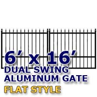 6' x 16' Residential Dual Aluminum Flat Style Driveway Gate