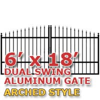 6' x 18' Residential Dual Aluminum Arch Style Driveway Gate