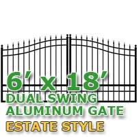 6' x 18' Residential Dual Aluminum Estate Style Driveway Gate