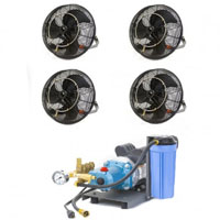 "4 18"" Fan Mist Cooling Kit with 1000 PSI Pump"