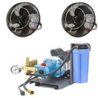 "2 18"" Fan Mist Cooling Kit with 1000 PSI Pump"
