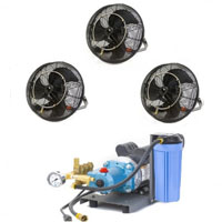 "3 18"" Fan Mist Cooling Kit with 1000 PSI Pump"
