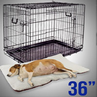 "36"" Small Folding Dog Puppy Crate Cage Kennel 3 Doors Divider Beige Bed Pad Mat"