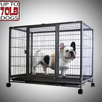 "37"" Heavy Duty Metal Dog Cage Kennel With Wheels Portable Pet Puppy Carrier Crate"
