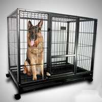 "43"" Heavy Duty Metal Dog Cage Kennel With Wheels Portable Pet Puppy Carrier Crate"