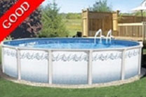 "Atlantis 27' Round 48"" Steel Above Ground Swimming Pool with 6"" Toprail"