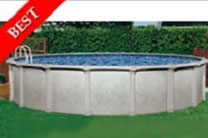 "Tahitian 33' Round 54"" Steel Wall Swimming Pool with Resin Toprail"