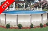 "Tahitian 15' Round 54"" Steel Wall Swimming Pool with Resin Toprail"