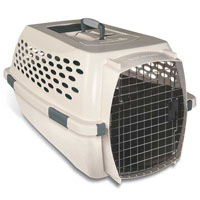Hard Plastic Easy Travel Front Load Bleached Linen Kennel in Four Sizes