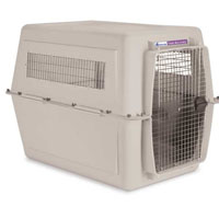 Hard Plastic Durable Front Load Bleached Linen Kennel in Two Sizes