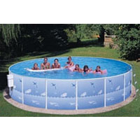 "Splasher 15ft Round 42"" Galv. Steel Above Ground Swimming Pool"