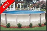 "Aruba 33' Round 54"" Resin Above Ground Swimming Pool with 8 "" Toprail"