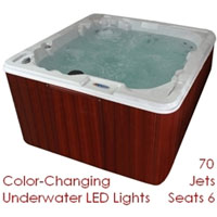 QCA 6 Person Hot Tub Spa with Lounger & 70 Jets