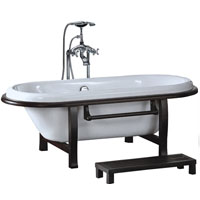 Modern Style Soaking Bathtub with Floor Faucet & Step Included