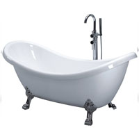 Clawfoot Soaking Bathtub with Floor Faucet Included