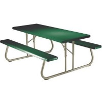 6 Person Hunter Green Folding Picnic Table