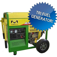 High Quality 6500 Watt Electric Start & Recoil Tri Fuel Generator