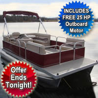 2014 8x20 Cruising Pontoon Boat w/ Bimini Top + Steering Console + Rear Bench