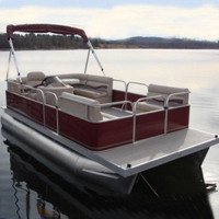 2014 8x19 Cruising Pontoon Boat w/ Bimini Top + Steering Console + Rear Bench