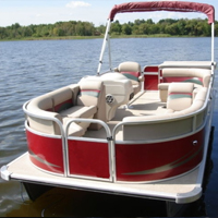 2014 8.5 x 22 Cruising Pontoon Boat w/ Bimini Top + Steering Console + Rear Bench
