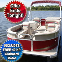 2015 8.5 x 22 Cruising Pontoon Boat w/ Bimini Top + Steering Console + Rear Bench