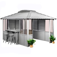 10 x 14 Grey Gazebo w/ Bar & 2 Louver Sections & Lower Wall Panels