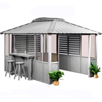 10 x 10 Gray Gazebo Enclosed with Sliding Door on Left