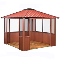 10 x 10 Red Gazebo w/ 2 Window Sections & Lower Wall Panels
