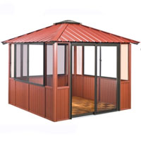 10 x 14 Red Gazebo Enclosed w/ 3 Sliding Windows & Sliding Patio Door