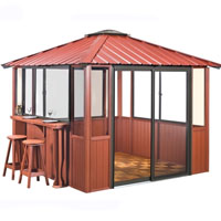 10 x 10 Red Gazebo Enclosed Unit w/ Bar & Interlocking Floor Tile