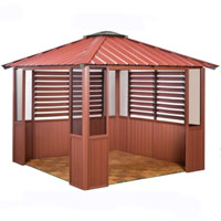10 x 14 Red Gazebo w/ Lower Wall Panels & 2 Louver Sections