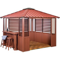 10 x 14 Red Gazebo w/ Bar & 2 Louver Sections & Lower Wall Panels