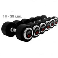 Rubber Round Dumbbell Set 10-35