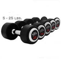 Rubber Round Dumbbell Set 5-25