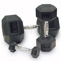 80 to 100 Lb. Rubber Dumbbell Set