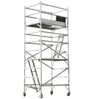 Brand New Heavy Duty 14' Aluminum Scaffold Rolling Tower w/ Guard Rail