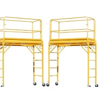 Brand New Heavy Duty Set of Two 6' Deck High Scaffold Rolling Towers With Guard Rail