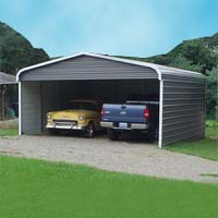 20' x 26' x 7' Standard Eco-Friendly Steel Carport w/ Closed Sides & Back Wall - Installation Included