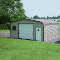 22' x 31' x 9' Regular Roof Eco-Friendly Steel Carport Garage - Installation Included