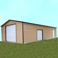 24' x 36' x 10' Boxed Eave Eco-Friendly Steel Carport Garage - Installation Included