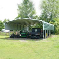 24' x 36' x 12' Standard Eco-Friendly Steel Carport w/ Half Sides - Installation Included