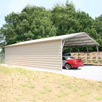 24' x 41' x 10' Vertical Roof Eco-Friendly Steel Carport w/ Closed Side Wall - Installation Included