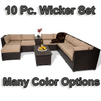 Brand New 2014 Beach 10 Piece Outdoor Wicker Patio Furniture Set