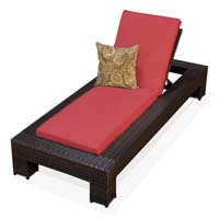 Henna Spice Outdoor Tropic Wicker Patio Chaise Lounge