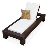 Ivory Outdoor Tropic Wicker Patio Chaise Lounge