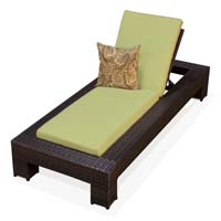 Peridot Outdoor Tropic Wicker Patio Chaise Lounge