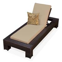 Sand Outdoor Tropic Wicker Patio Chaise Lounge